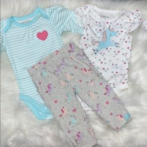 NWT 3 Piece Baby Girl 3-6M Unicorn Set